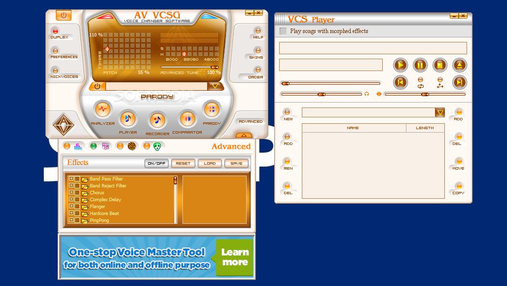 حمل برنامج رائع للدمج وخلط الاصوات AV Voice Changer Software Gold Edition 4 0 64