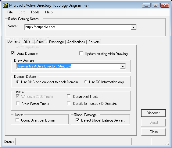 Microsoft-Active Directory Topology Diagrammer screenshot 1