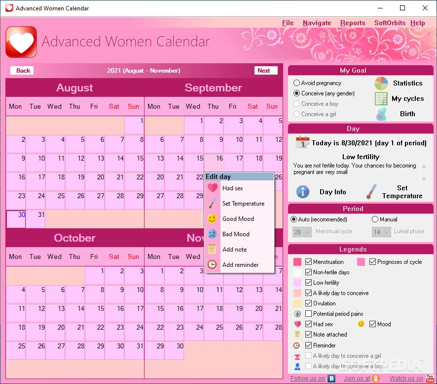 برنامج للسيدات Advanced Woman Calendar