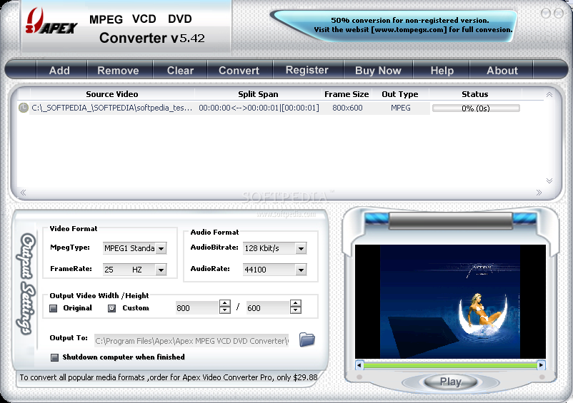 Apex MPEG VCD DVD Converter