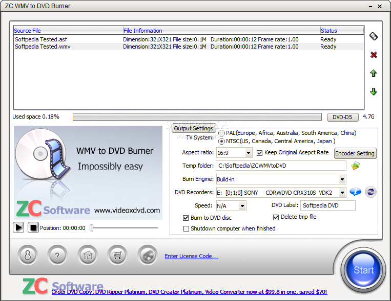 Apollo WMV/ASF/ASX to DVD Burner 1.1.5