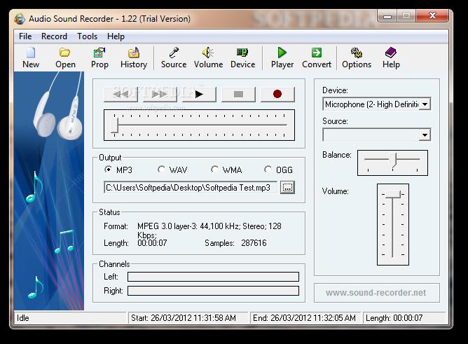 Audio Sound Recorder 1.22 скачать + кряк Audio Sound Recorder 1.22.