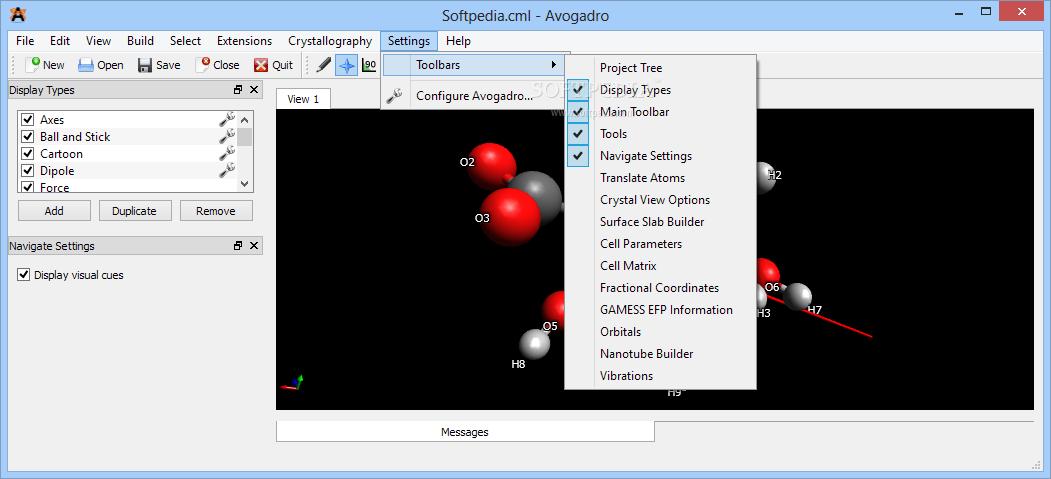 برنامج إنشاء القائمة Avogadro يسمح