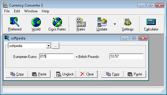 Currency Converter screenshot 1 - The main window of this application allows you to use the current currency convertion