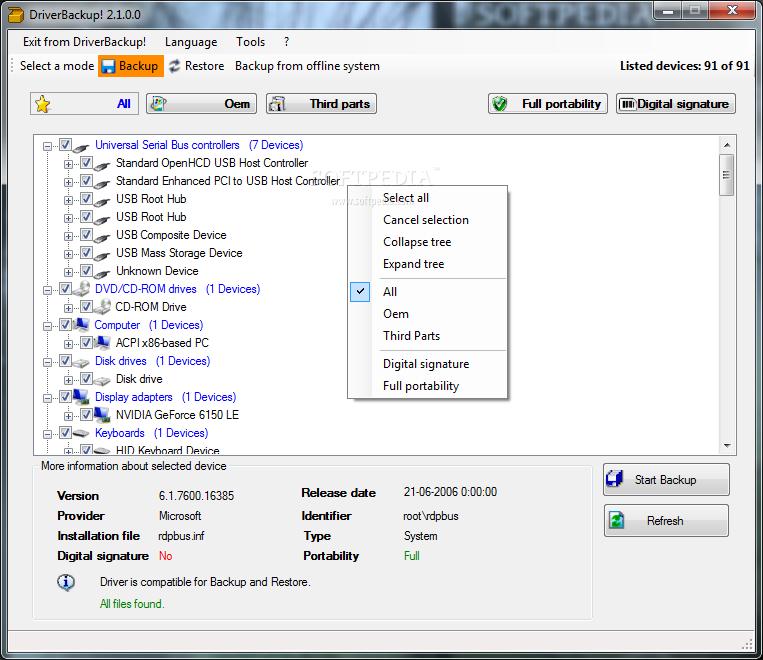 DriverBackup! 1.0.3 مجاني مفتوح المصدر لحفظ الدريفرات