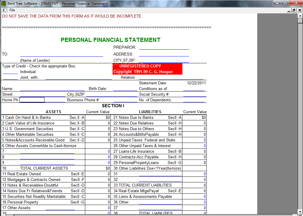Simple Financial Statement Form] Statement Form Sworn Statement Form ...