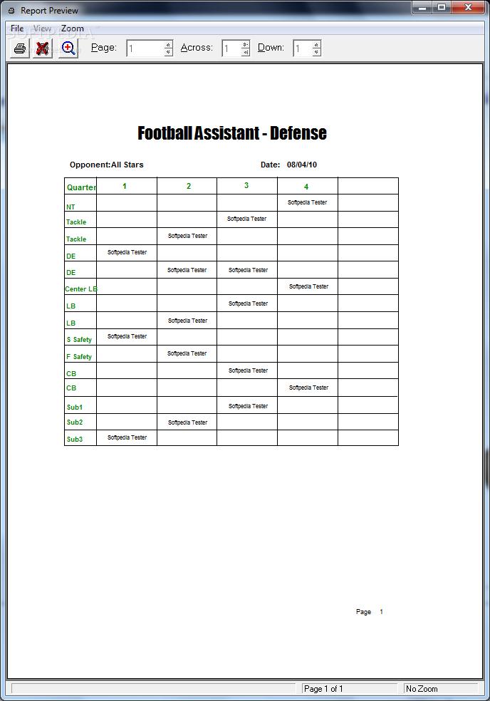 blank football depth chart template