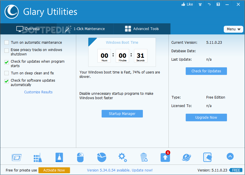 Glary Utilities (No Toolbar) screenshot 1