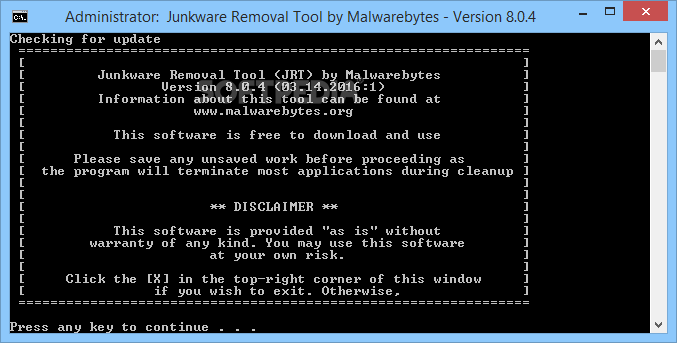 Imagen 1 de Junkware Removal Tool - The main window of Junkware Removal Tool prompts users to press any key in order to start the scan