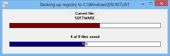 Imagen 2 de Junkware Removal Tool - The Backing Up Registry window displays the undergoing process of saving the back up files of users' registry settings