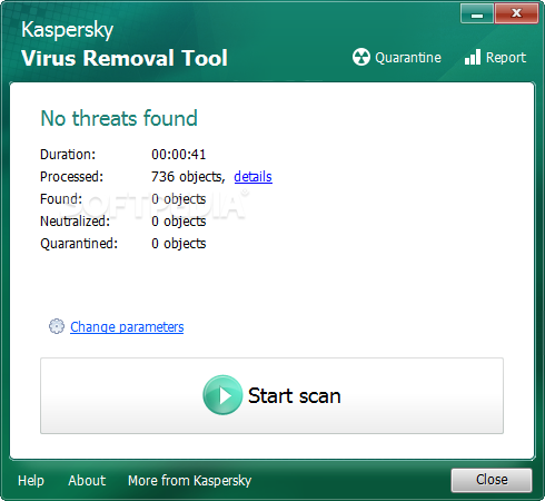 Kaspersky Virus Removal Tool screenshot 2 - Manual disinfection tab window of Kaspersky Virus Removal Tool, where you will be able to preform a manual system care action.