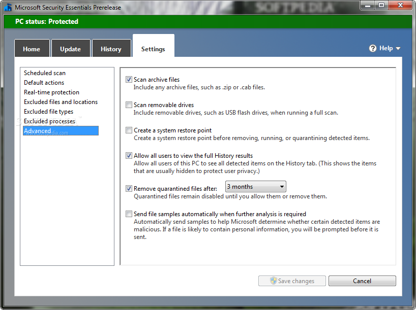 Microsoft Security Essentials screenshot 8