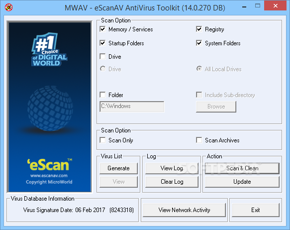 Microworld Antivirus Toolkit Utility 1 برنامج الحماية eScan Anti Virus & Spyware 12.0.73 DB 31.10.2010