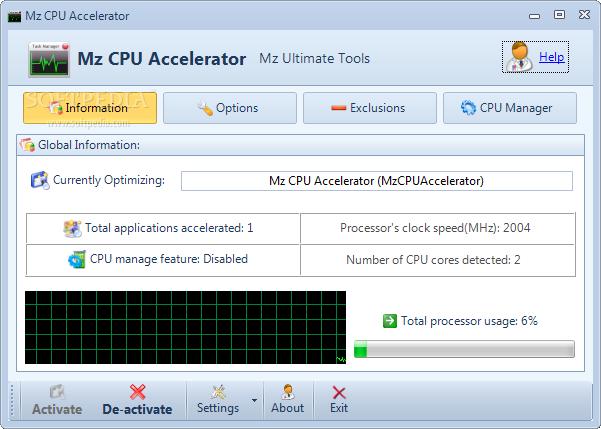 Mz Cpu Accelerator là một tiện ích nhỏ, miễn phí cho phép bạn chạy các ứng  dụng nhanh hơn rất nhiều so với tốc độ bình thường bằng cách sắp xếp lại ...