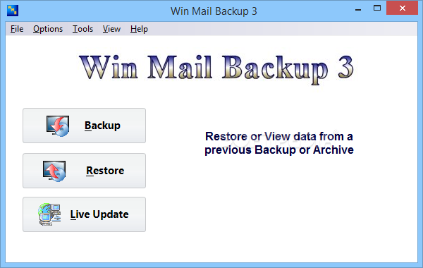 Win Mail Backup screenshot 1 - Win Mail Backup will help you quickly and easily backup, restore and synchronize your Windows (Live) Mail contents