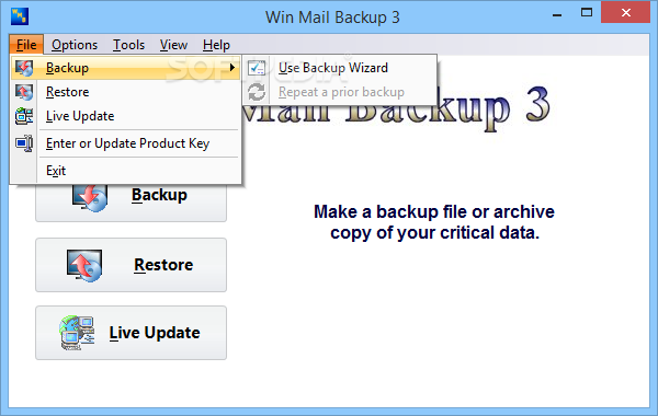 Win Mail Backup screenshot 2 - The Standard Backup Group tab will provide users with Email, Browsers, Contacts or Ancillary Data options
