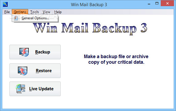 Win Mail Backup screenshot 3 - Users will be able to access options such as Windows Mail, Contacts, IE Data, Windows Files, Documents, My Desktop or WMB Settings options