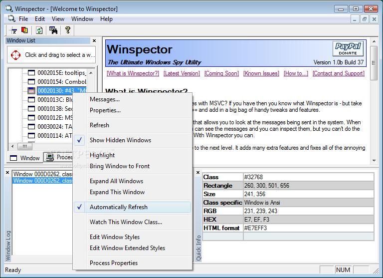 Winspector screenshot