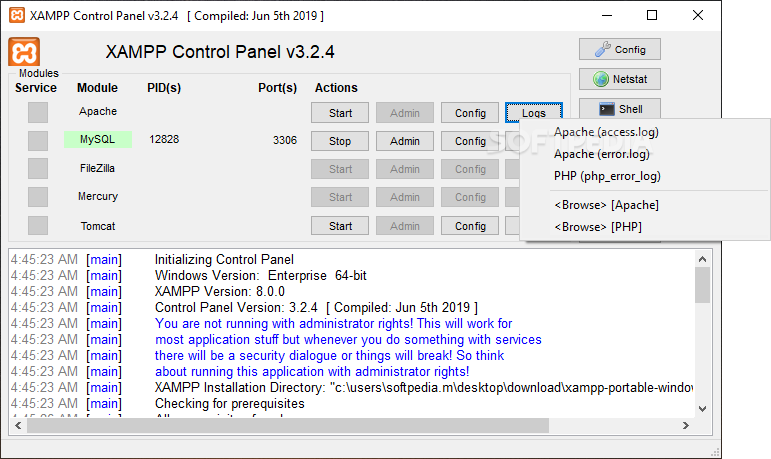 XAMPP  screenshot 1 - The main window of XAMPP allows users to view the modules  status and to enable them if they need to.
