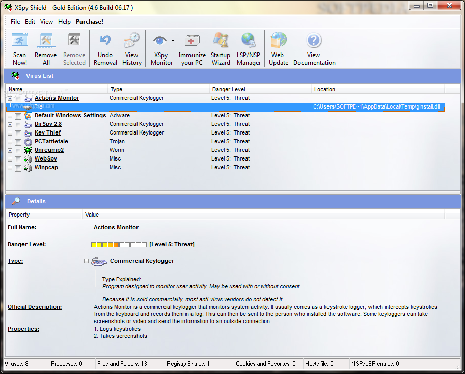 برنامج مكافحة الفيروسات XSpy Shield