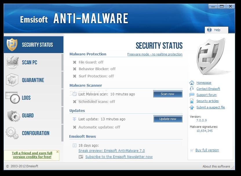 В Emsisoft Anti-Malware присутствует защита, которая распознает и